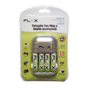 CARREGADOR PILHA/BATERIA FLEX AA/AAA/9V + 4 PILHAS FX-C03 4P