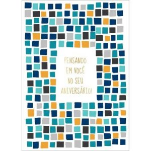 Cartão Aniversário Grafons Azulejos Azuis 30570