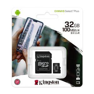 Cartão de Memória 32GB Kingston Canvas Select Plus 100MB/s MicroSD C/Adaptador SDCS2
