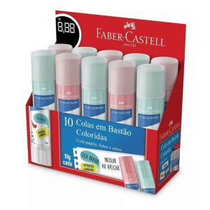 COLA BASTAO FABER CASTELL 10GRS COLORIDA CX10 OF/8110COLORS