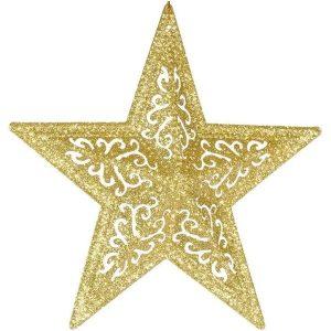Enfeite De Natal Estrela Filigrana Glitter Dourado ou Vermelho 20cm - Magizi 18885