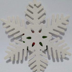 Enfeite Natal Floco de Neve Glitter Branco 06 Pontas 18cm - Magizi 22550