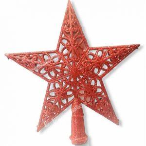 Enfeite Natal Ponteira Estrela 20x21cm Glitter Vermelho - Magizi 19771