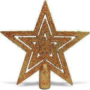 Enfeite Natal Ponteira Estrela Vazada 19cm Glitter Dourado/Vermelho - Magizi 18880