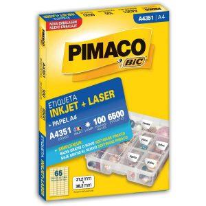 ETIQUETA PIMACO A4 LASER 351 N65 100FLS 21,2X38,20MM