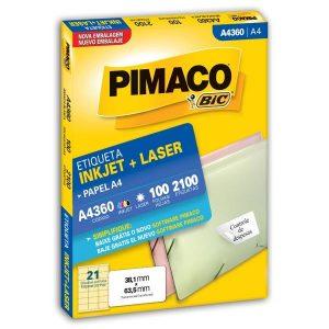 ETIQUETA PIMACO A4 LASER 360 N21 100FLS 38,1X63,5MM