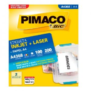 ETIQUETA PIMACO A4 LASER 368 N02 100FLS 143,4X199,9MM