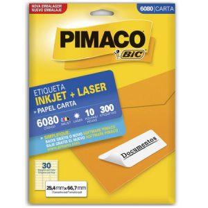ETIQUETA PIMACO CARTA LASER 6080 N30 10FLS 25,4X66,7MM