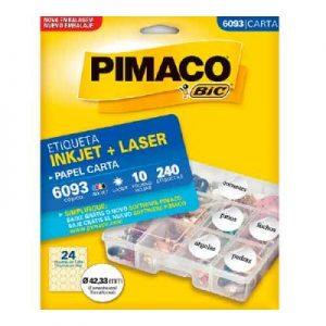 ETIQUETA PIMACO CARTA LASER 6093 N24 10FLS REDONDA 42,33MM
