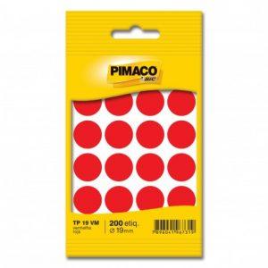 ETIQUETA PIMACO REDONDA TP 19 TR 19MM VERMELHO 200UND