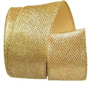 Fita Presente Aramada 38mm Glitter Ouro Metro - Cromus 1206632