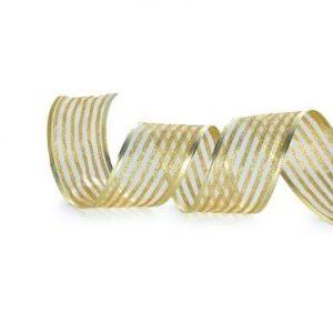 Fita Presente Aramada 38mm Listras Glitter Ouro Rolo 9,14Mts - Cromus 1614529
