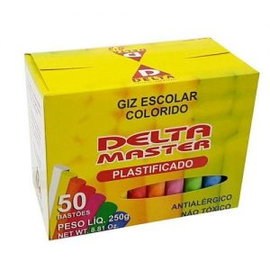 GIZ ESCOLAR DELTA COLORIDO PLASTIFICADO CX50