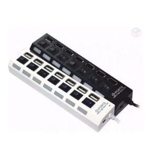 HUB USB 2.0 7 ENTRADAS COM BOTAO LIGA E DESLIGA HI SPEED PRETO/BRANCO HB05