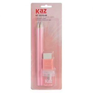 Kit Escolar Kaz C/2 Lapis HB Apontador e Borracha Rosa KZ1903RS