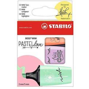 Kit Stabilo Pastel Love Marca Texto Stabilo Boss Mini 3 Cores