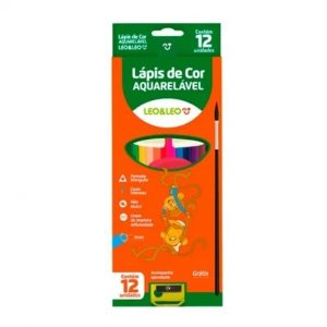 Lapis De Cor Aquarelavel 12 Cores Com Pincel E Apontador Leo & Leo 5549