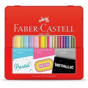 Lapis De Cor Faber Castell 24 Cores Estojo Lata 10 Pastel + 4 Neon + 10 Metallic KIT/CORES