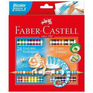 LAPIS DE COR FABER CASTELL BICOLOR 24 CORES = 48 CORES 120624G