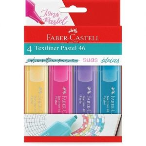 MARCA TEXTO FABER CASTELL TEXTLINER 46 04 CORES PASTEL MT/15464