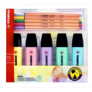 MARCA TEXTO STABILO BOSS PASTEL 05 CORES + POINT 88 PASTEL 05 CORES 553400
