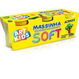 MASSA MODELAR ACRILEX SOFT KIT 03 POTES 450GRS