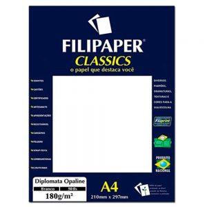 Papel A4 Diplomata Opaline 180g com 50fls Branco Filipaper