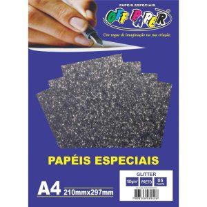 Papel Gliter A4 Preto 180g Off Paper C/5 Folhas