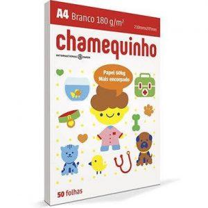 PAPEL SULFITE A4 CHAMEX CHAMEQUINHO BRANCO 180GRS 60KG 100FLS