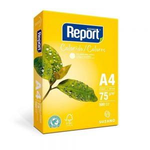 PAPEL SULFITE A4 REPORT AMARELO 75GRS 500FLS CX05