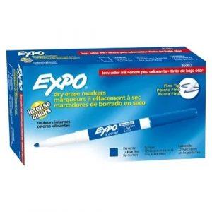 Pincel Quadro Branco Expo Ponta Fina Azul Dry Erase
