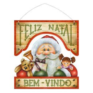 Placa Decorativa MDF Litoarte Bem Vindo Natal - DHN-019