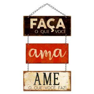 Placa Decorativa MDF Litoarte Faça O Que Você Ama - DHPM5365