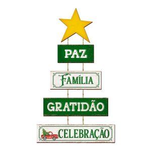 Placa Decorativa MDF Litoarte Pinheiro, Paz, Família - DH6N003