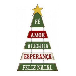 Placa Decorativa MDF Litoarte Árvore de Natal, Fé, Amor - DHN-019
