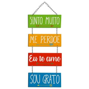 Placa Decorativa MDF Litoarte Sinto Muito, Me Perdoe - DHPM5279