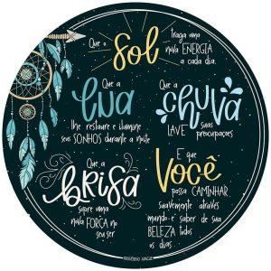 Placa Decorativa MDF Litoarte Sol Lua Chuva - DHPM5372
