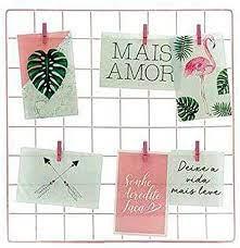 Porta Foto Aramado 40x40 Preto Com Mini Prendedores