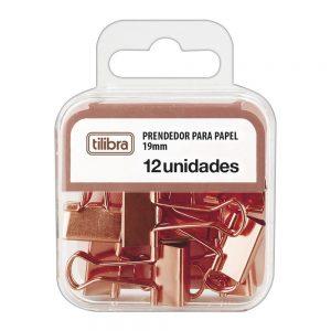 PRENDEDOR BLINDER 19MM TILIBRA OURO ROSE CX12 276529