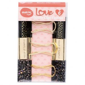 Prendedor Clips Binder 32mm Especial Love c/ 06 Unds - Molin