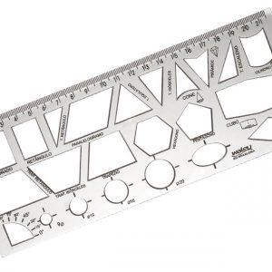 Regua 20cm Geometrica Cristal Waleu