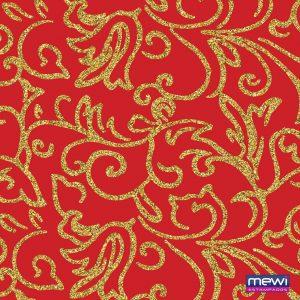 Tecido Estampado TNT Mewi Arabesco Dourado Glitter Fundo Vermelho C/50 Metros