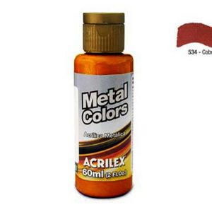 TINTA ACRILICA METALICA ACRILEX METAL COLORS COBRE 60ML 534