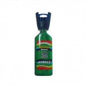TINTA DIMENSIONAL ACRILEX GLITTER VERDE 35ML 206