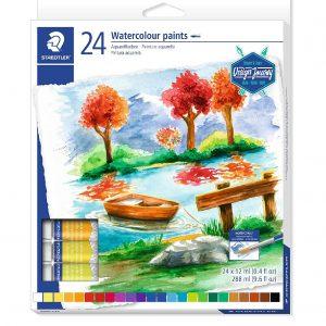 Tinta Para Aquarela Watercolour Staedtler 24 Cores 8880C24