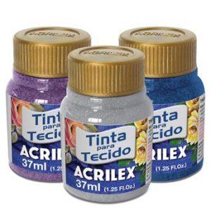 TINTA TECIDO ACRILEX GLITER AZUL TURQUESA 211 37ML